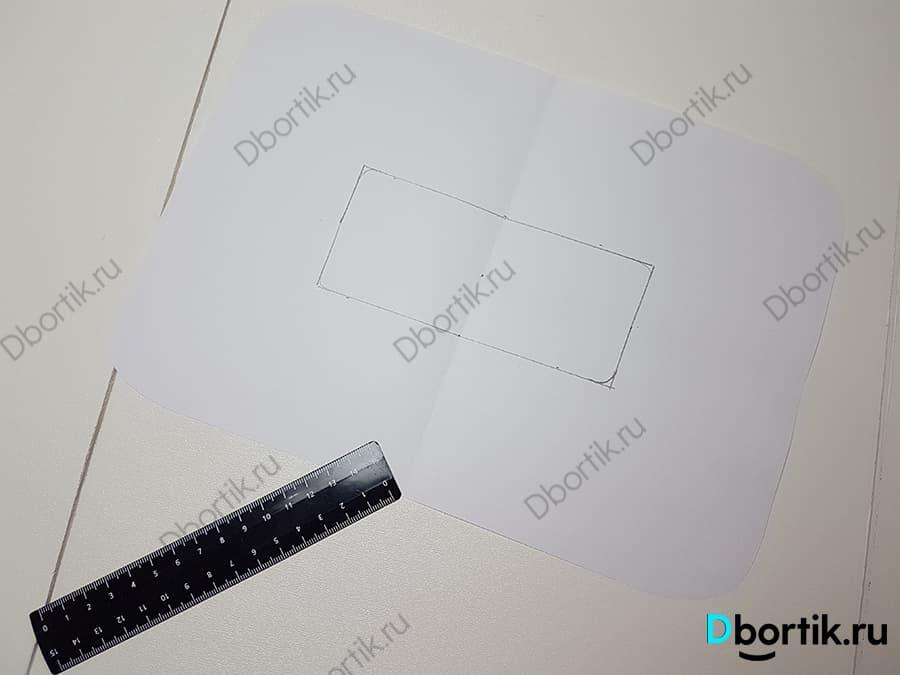 Листок бумаги А4 для построения выкройки подушки. Чертим прямоугольник размером 14 на 6 см.