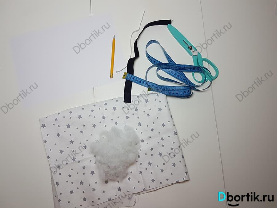 Предметы для пошива подушки на руку для кормления новорожденного малыша грудью.