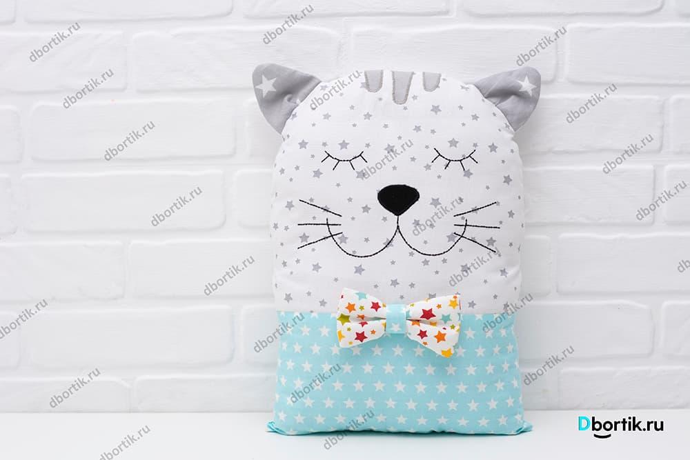 Выкройка бортика подушки котик