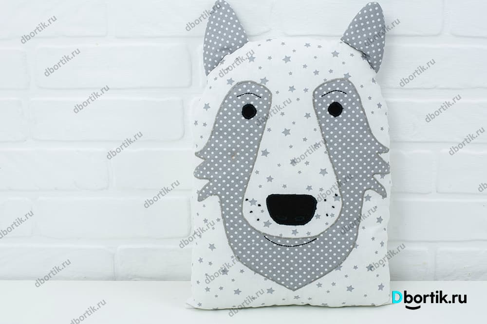 Выкройка подушки Волк на бортики детской кроватки