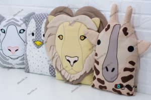 Бортики подушки Зверушки - Пингвин, Жираф, Лев, Тигр