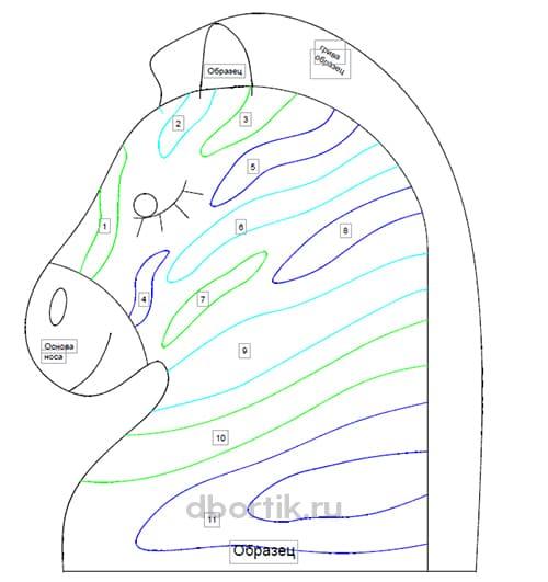 Цветной контур, образец Выкройки бортика подушки Зебра 3