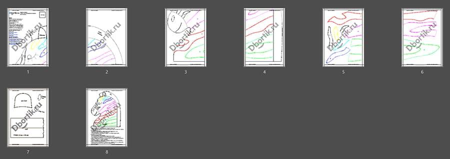 Выкройки бортика подушки Зебра 4, цветной контур