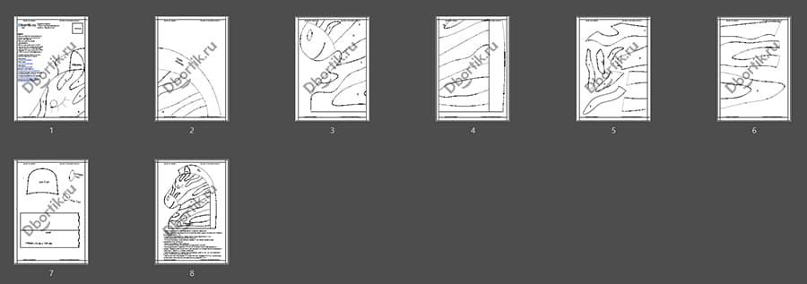 Выкройки бортика подушки Зебра 4, черный контур