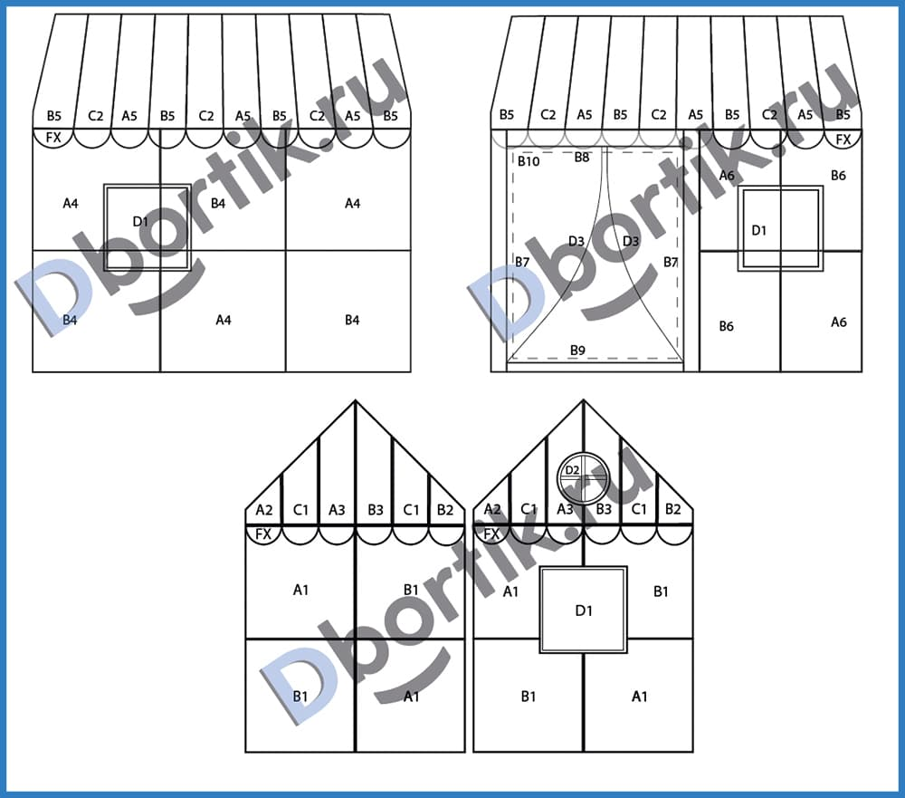 Схема расположения деталей выкройки для игрового домика
