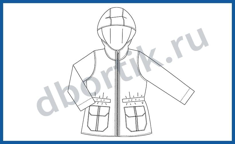 Технический рисунок выкройки парки (куртки) на ребенка