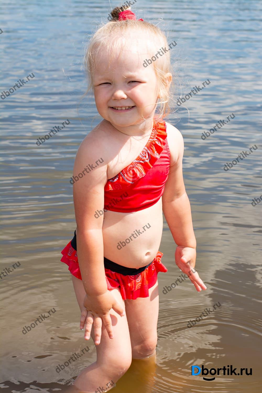 Выкройка детского раздельного купальника. Размеры 80-86-92-98-104-110-116-122-128. Готовый вид.