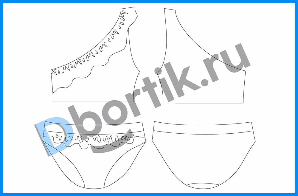 Технический рисунок детского раздельного купальника. Размеры 80-86-92-98-104-110-116-122-128.