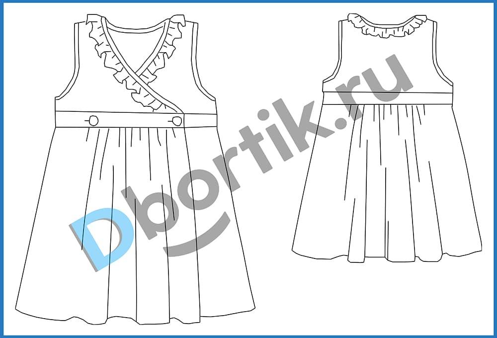 Технический рисунок выкройки детского платья на запах