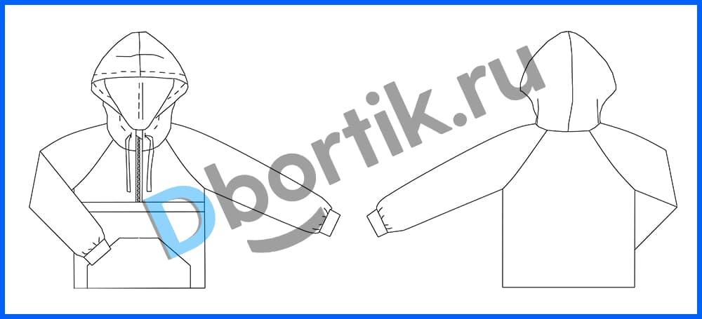 Технический рисунок выкройки детской ветровки анорак