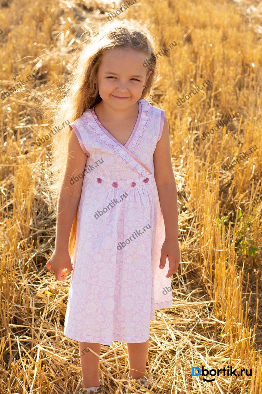 Выкройка детского платья на запах. Розовое платье в готовом виде после пошива.