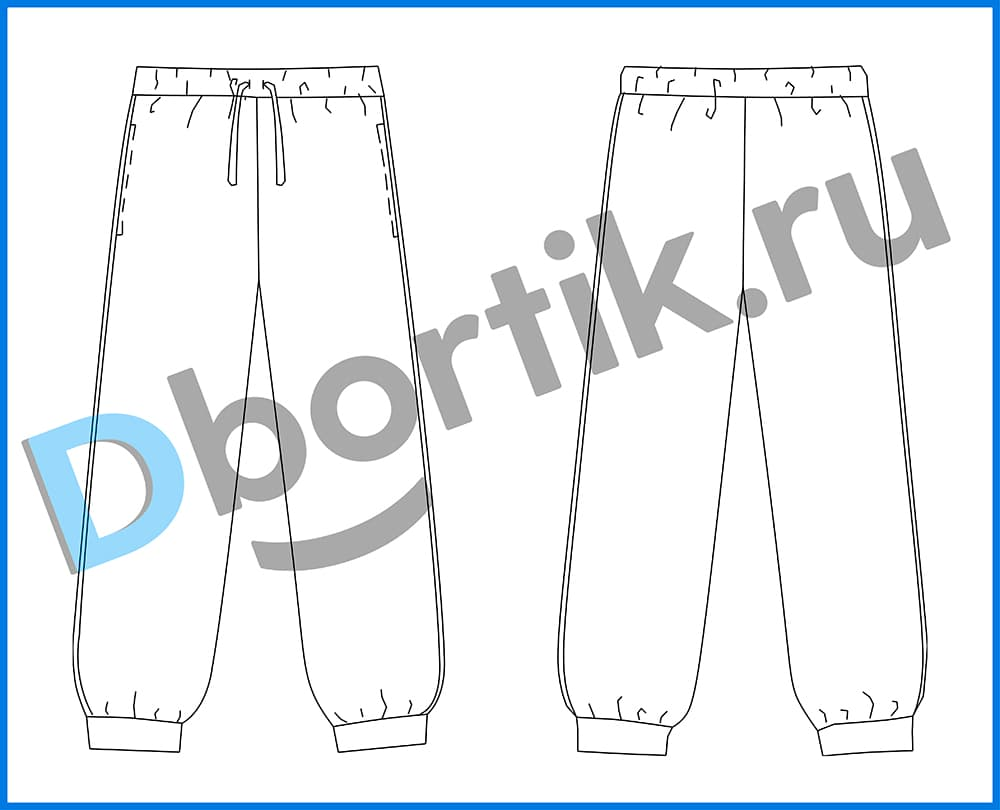 Технический рисунок выкройки детских спортивных штанов