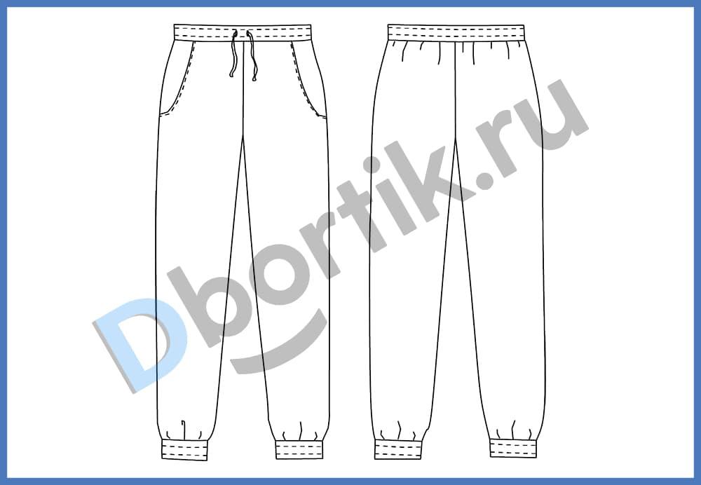Технический рисунок пижамных женских штанов
