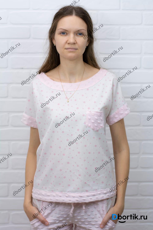 Женская, пижамная футболка в готовом виде, после пошива по выкройке.