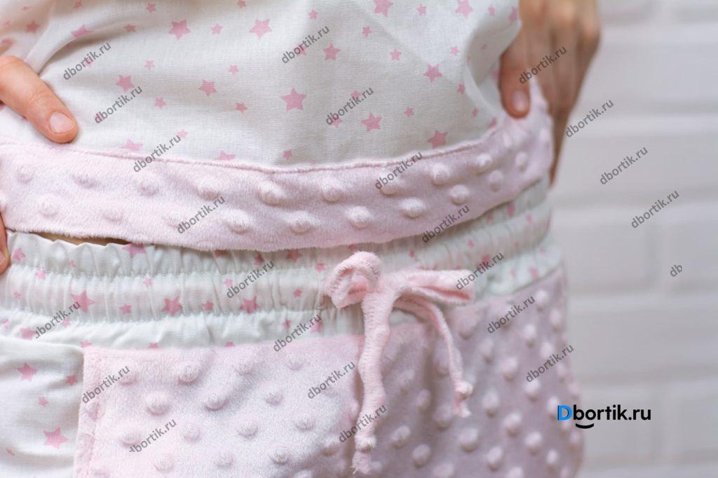 Женские пижамные штаны. Притачной пояси завязка для фиксации штанов.