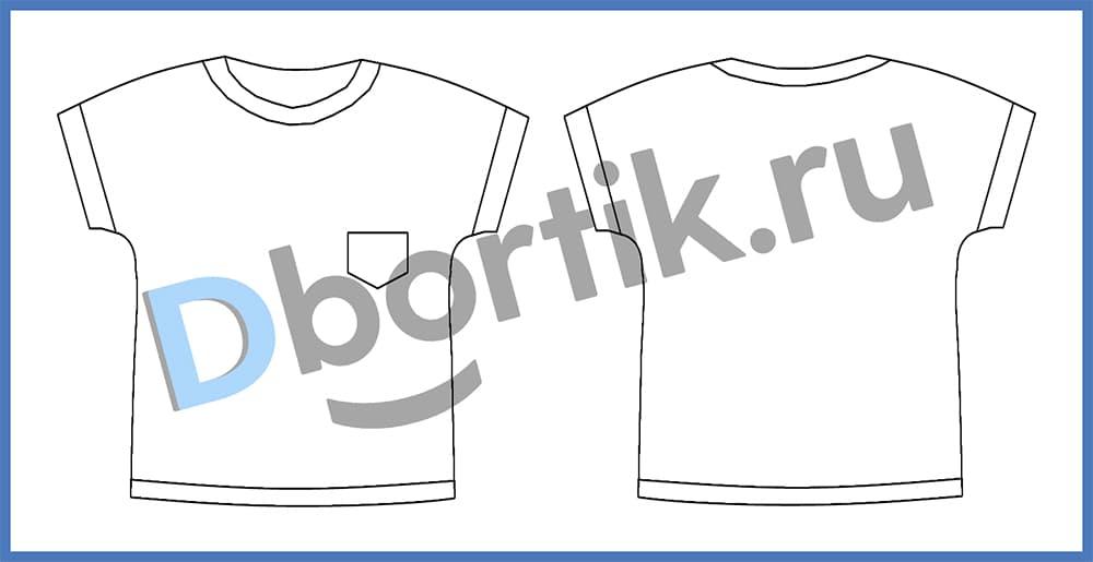 Технический рисунок выкройки пижамной футболки
