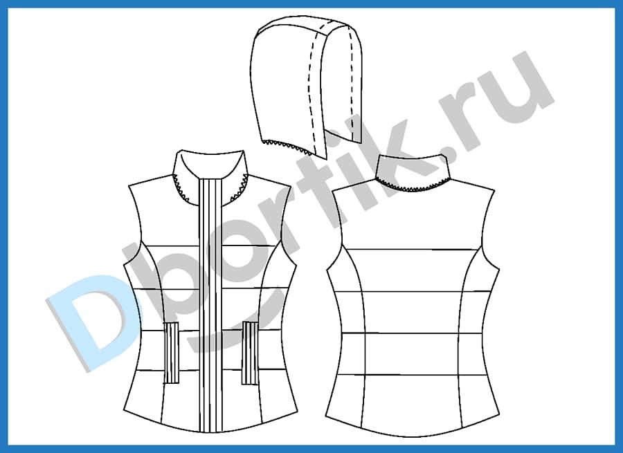 Технический рисунок выкройки женской утеплённой жилетки с капюшоном. Вид спереди, сзади, а также вид капюшона сбоку.