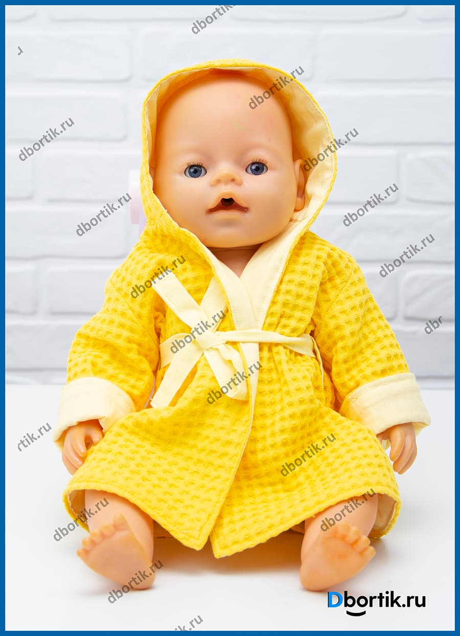 Выкройка халата с капюшоном для куклы