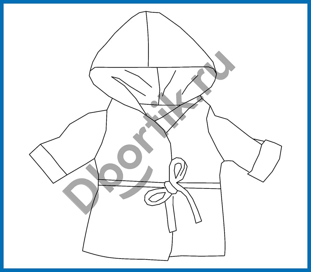 Технический рисунок выкройки халата с капюшоном для куклы