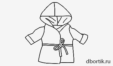 Выкройка халата с капюшоном на детскую куклу
