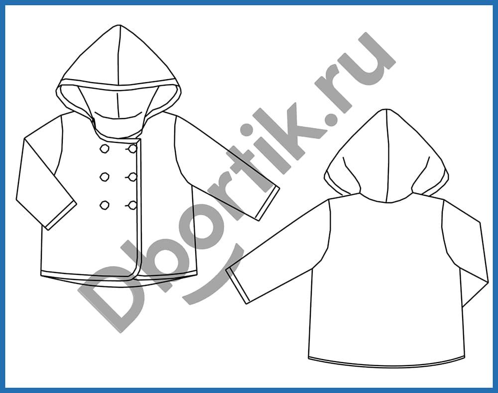Технический рисунок выкройки для пошива детской легкой куртки.