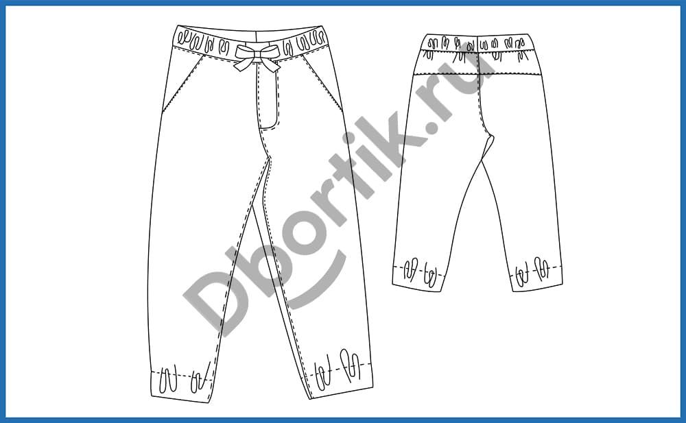 Технический рисунок выкройки джинс джоггеров.