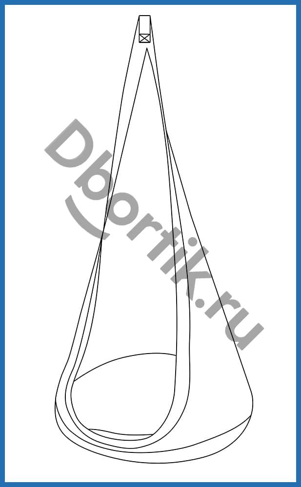 Технический рисунок выкройки подвесных качелей кокон