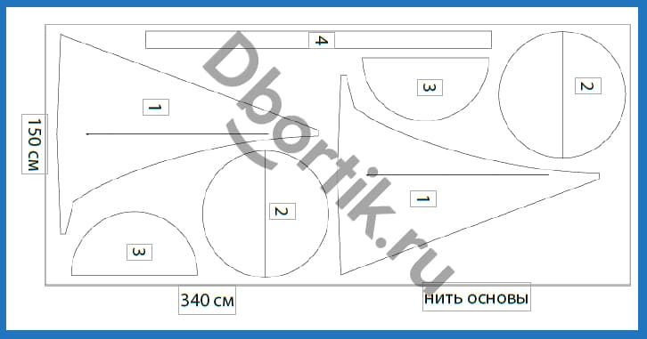 Схема расположения деталей на ткани для пошива подвесных качелей кокон.